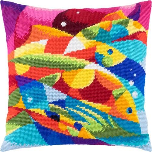 Abstraction Fish pillowcase cross-stitch DIY embroidery kit