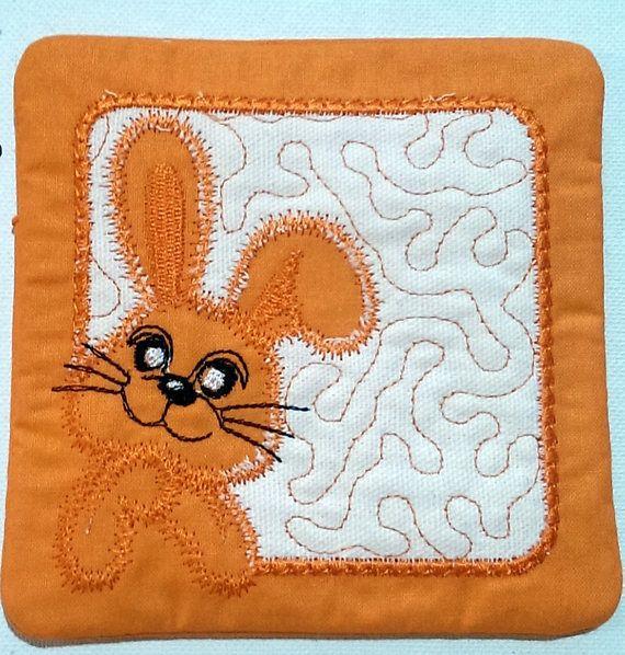 Easter Bunny Coaster Mug Rug Orange / White  Cute Bunny mug rug/ coaster  measures 5 inches square (12.5cm)
