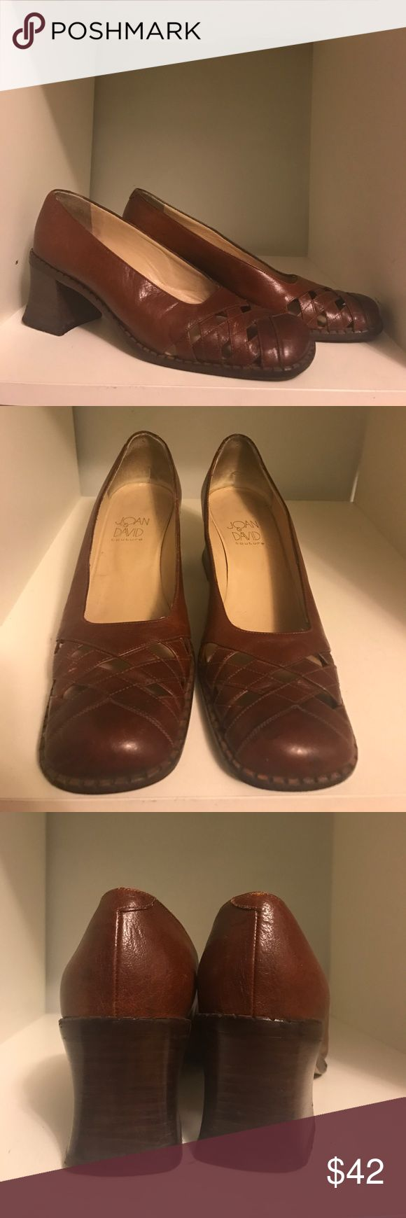 Joan & David couture leather stack heel shoes Joan & David couture vintage brown leather, stack heel, cutout square toe shoes. AMAZing vintage condition. Practically no wear. Only a bit of dirt and scuffs to bottom of foot bed. Handmade in Italy. Super rare!!! Joan & David Shoes