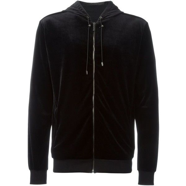 Versace Medusa velvet zipped up hoodie ($1,075) ❤ liked on Polyvore featuring men's fashion, men's clothing, men's hoodies, black, mens hoodies, mens sweatshirts and hoodies and mens zip up hoodies