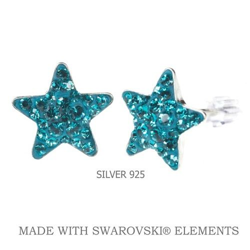 Náušnice Swarovski Elements STAR Blue Zircon10 mm Divine Jewellery eshop
