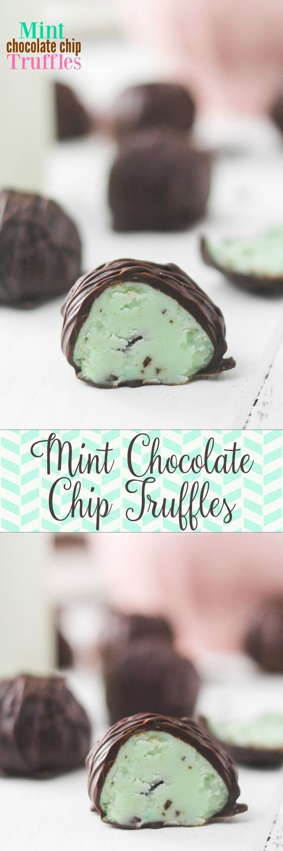OBSESSED WITH THESE MINT CHOCOLATE CHIP TRUFFLES!! I love mint chocolate chip ANYTHING and these taste like ice cream!! But they aren't -- they don't melt!!