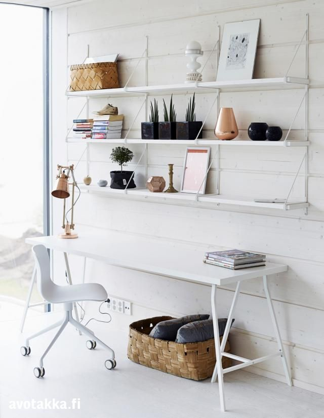 White home office with an About A Chair desk chair via Avotakka.