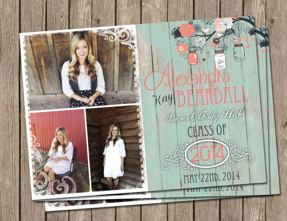 Rustic, Shabby Chic, Graduation, Announcement, Mint, Wood ,Digital file, Printable on Etsy, $15.00