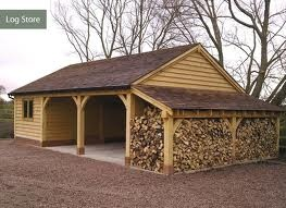 oak frame log store - Google Search