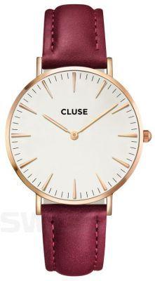 Bordowy pasek zegarka od Cluse będzie wspaniale się komponować z czerwoną szminką!