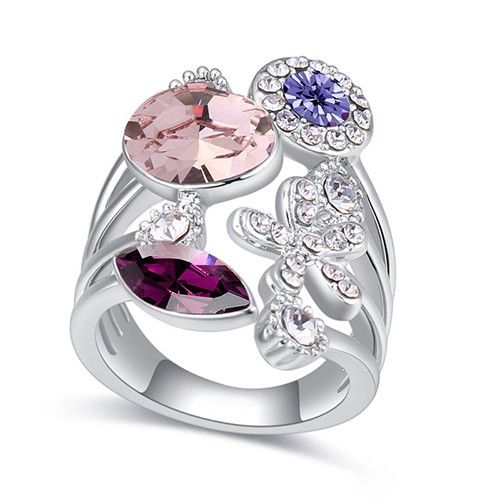 $11 Flower garden Swarovski crystal cocktail ring - Jewelry Wholesale. BEST PRICE: Directly in the jewelry factory. VAT-free shopping: Available, partners based in the European Union, only applies to EU tax identification number (UID). Exclusive design SWAROVSKI crystals and AAA Zircon crystal engagement rings, wedding & bridal rings, cocktail party rings.