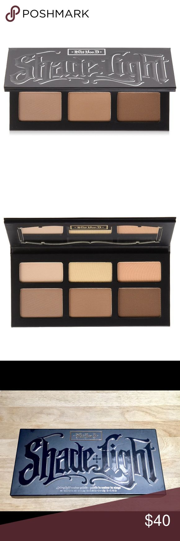 NIB Kat Von D Shade + Light Contour Palette A contour palette featuring three shades for contouring and three shades for highlighting, designed to shape and define facial features. There is a slight dent in the cover of the Palette - see photo in listing. Brand new original version, only opened to photograph. 100% Authentic   - 3 x 0.16 oz Shade powder in Sombre (true taupe), Shadowplay (soft brown), Subconscious (deep brown)  - 3 x 0.08 oz Light powder in Lucid (pinkish nude), Lyric (yellow…