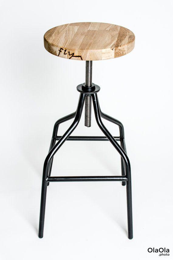 Handmade industrial swivel bar stool, steel and oak wood