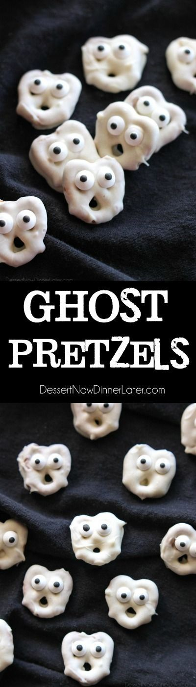 Ghost Pretzels - White chocolate dipped pretzels are made into ghosts with…