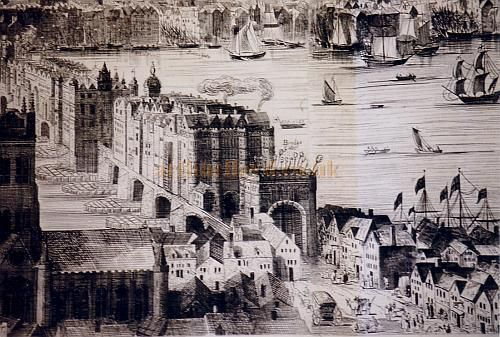 London Bridge showing Traitors heads on the gate, day to day activity at street level, Billingsgate market in the city and ships anchored at quayside Pre 1666