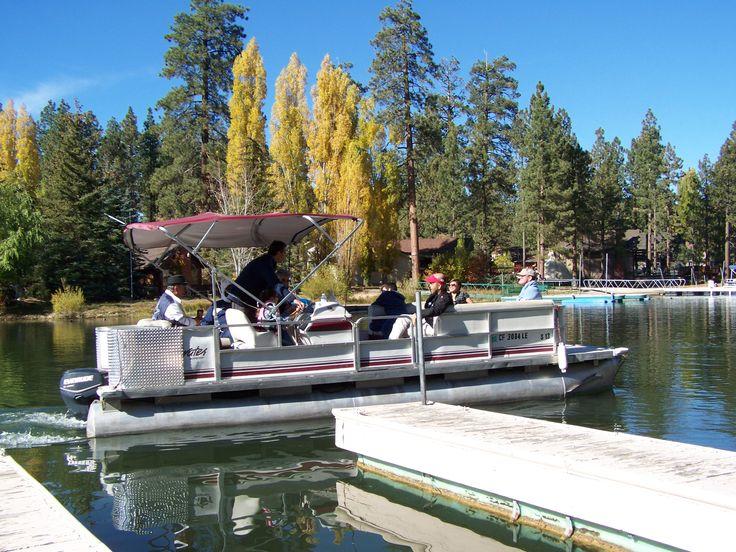 Pontoon boating on Big Bear Lake. Free dock slips at Mallard Bay Resort!