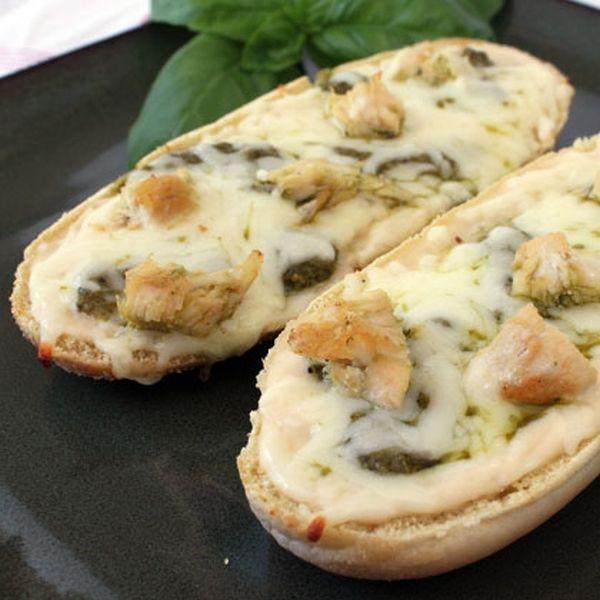 Chicken Alfredo and Pesto French Bread Pizza - 26 Easy and Tasty Bruschetta and Crostini Recipes