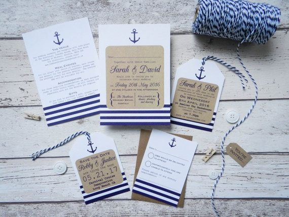 Nautical Wedding Invitation bundle, seaside wedding - rustic wedding - handmade
