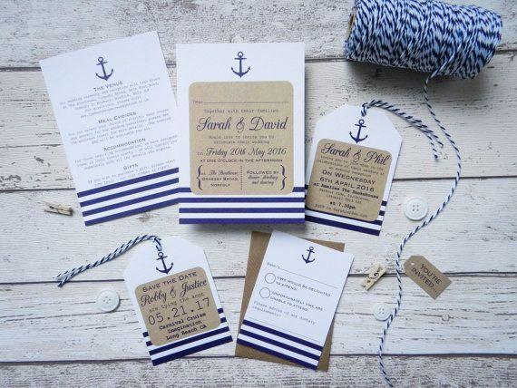 Bundle nautique de faire-part de mariage mariage par PaperFudge