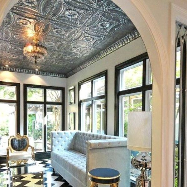 living room tin tile ceiling - American Tin Ceilings