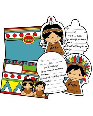Leuke uitnodigingen voor een kinderfeestje in het thema indianen.
