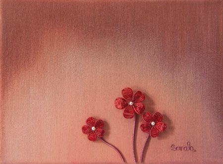 Wire Art on canvas from ButterflyOnBlue: Red wire flowers on a pink-brown painted canvas by Sarah Jansma