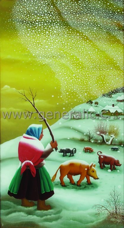 The first snow - triptych, oil on glass, Ivan Generalic