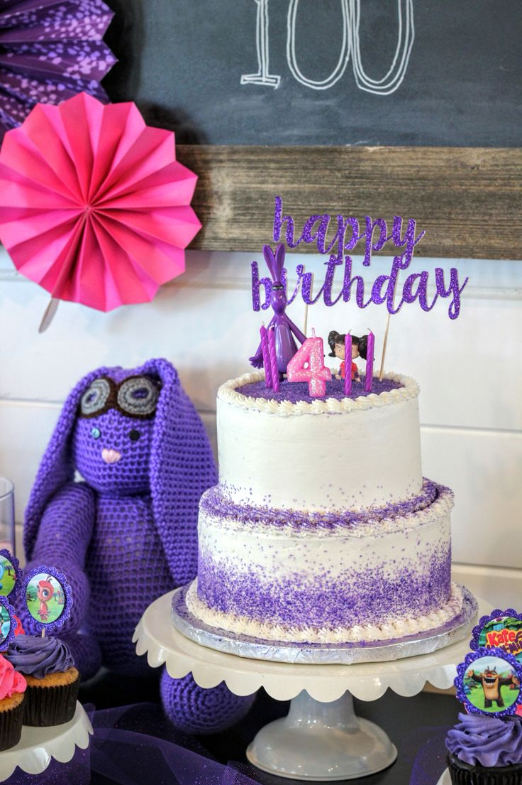 Kate and mim mim birthday party cake topper mimiloo pink purple glitter happy birthday mim mim doll MolsDesigns