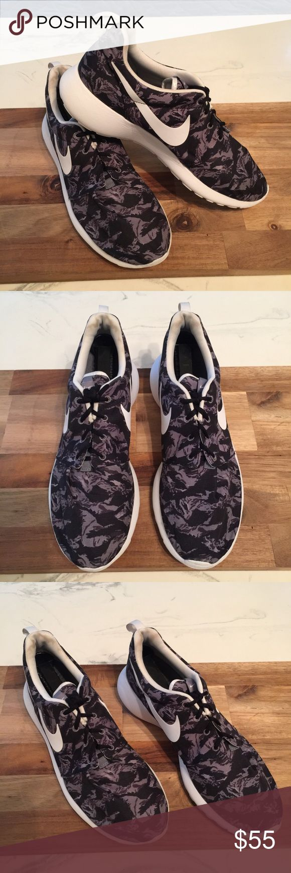 Nike Roshe Run Print Camouflage Black Grey White Nike Roshe Run Print Camouflage Black / Grey / White  Excellent Used Condition! Extremely CLEAN! Nike Shoes