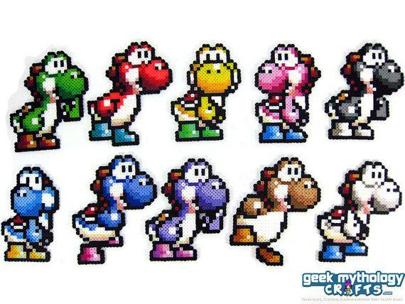 Yoshi - Super Mario World 2 - Perler Bead Sprite décorations