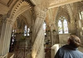 Image result for rosslyn chapel. the aprentice pillar, it is said that the stone masons apprentice created this in his absence, upon his return, the stone mason was furious and killed the apprentice