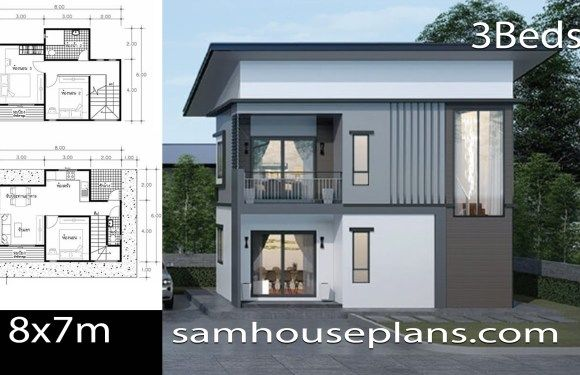 House Plans Idea 8 7 With 3 Bedrooms In 2020 House Plans 2 Storey House Design Simple House Design