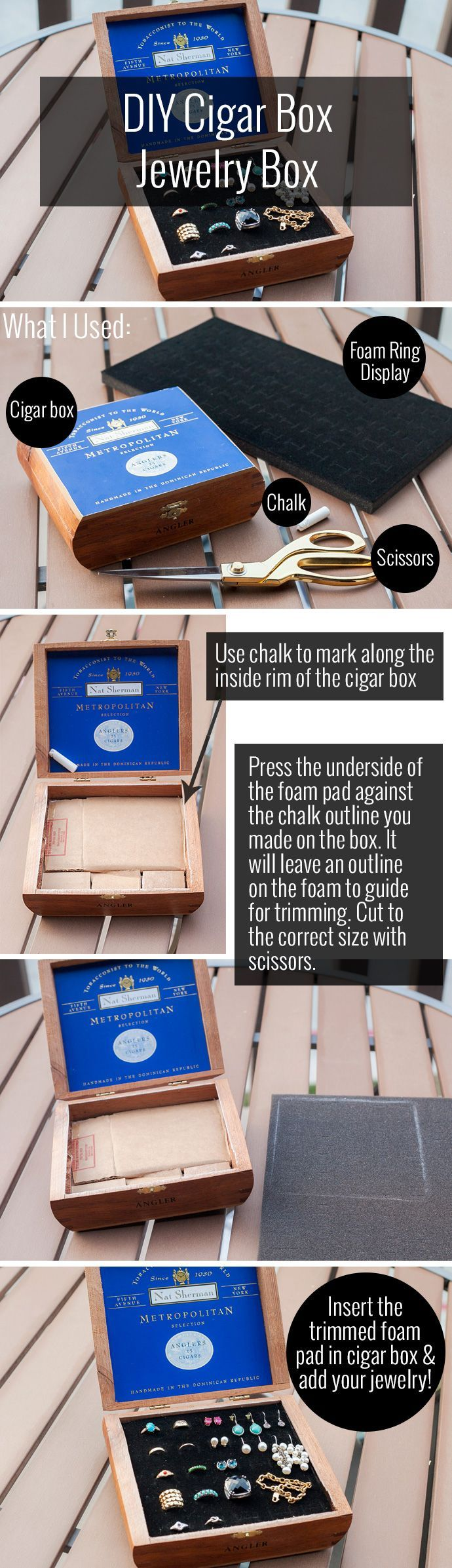 DIY Cigar Box Jewelry Box - Alterations Needed... could use for watches?