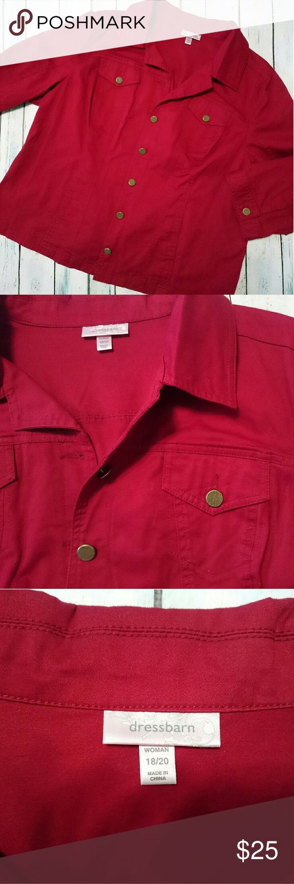 Dress Barn Jacket Women's plus size deep red jacket. Color is a bit darker than the pictures.  Long sleeve, button up. Two front chest pockets and two side pockets.  98% cotton 2% spandex. Slight stretch. Dress Barn Jackets & Coats