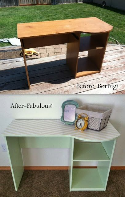 Cute mint and chevron desk! Give old boring furniture a face-lift!