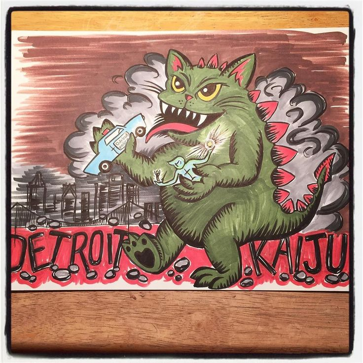 Today's #thirtydaysofcats #drawing theme: #KAIJU ... Spent the day driving and walking around #Detroit today: saw the #RenCen the #Riverwalk the #spiritofdetroit lots of great sights. So then I had to imagine a #giant #cat #monster destroying it all.