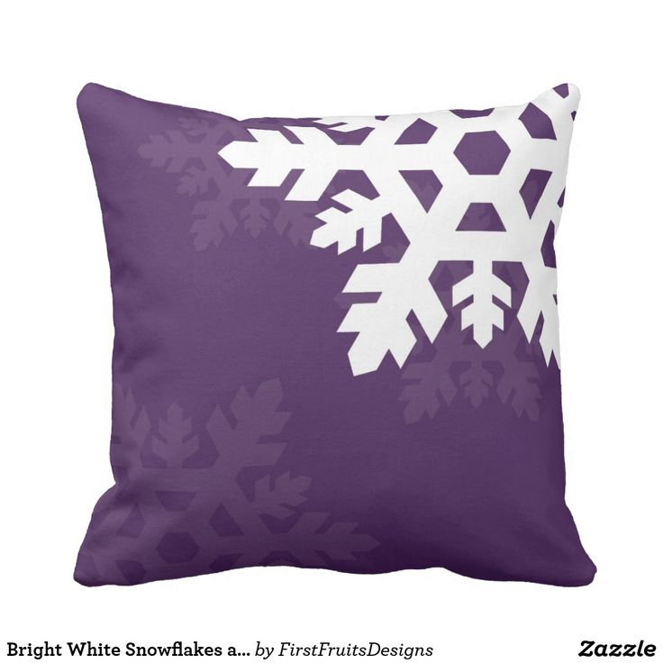 Bright White Snowflakes against Purple Throw Pillow Looking for something festive this season? This pattern of beautiful white snowflakes against a dark purple background is tastefully winter-themed. So whether you're celebrating Christmas, or just want something sweet and snowy, this pattern is bright and cheerful - and totally perfect for you! A sweet decorative throw pillow.