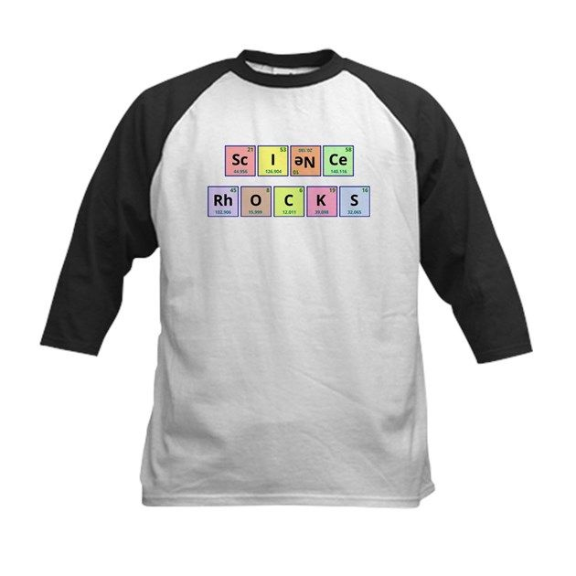 "The phrase ""Science Rocks"" is spelled out using symbols from the periodic table of elements. The element Neon (Ne) was turned upside down in order to get the required letters for the word ""science""."