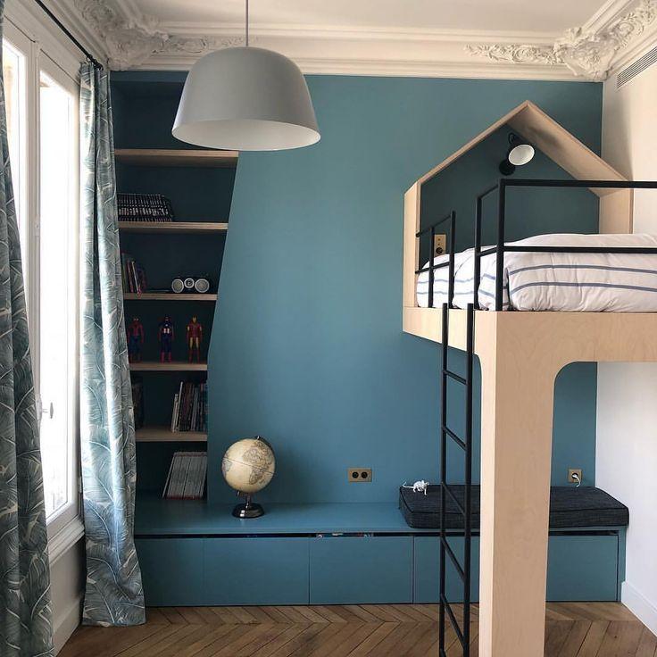 Wunderschönes blaues Zimmer und Hochbett von Bastler #kids #kidsroom #loftbed #blue #blueroom