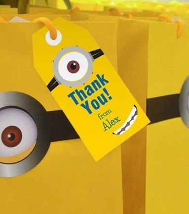 Minion Inspired Thank you/Favor Tags Instantly by ...