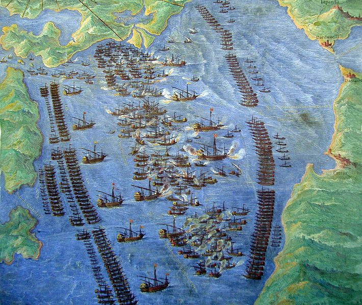 Battle of Lepanto, 7 October 1571, ~500 ships, ~150 000 people, 2500+ cannons, a sea battle won by the Holy League that ended Ottoman threat in Mediterranean