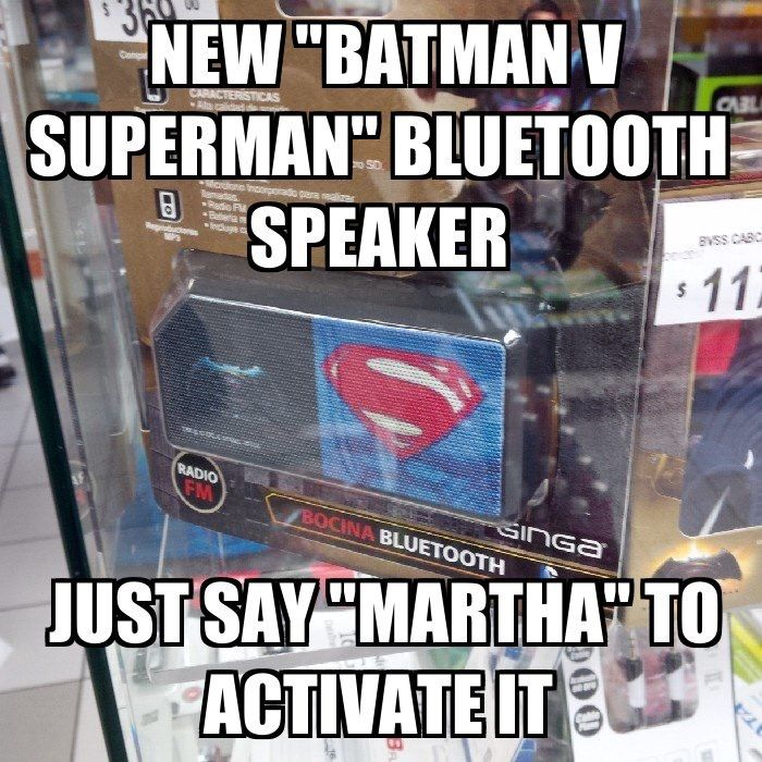 Look!  The all new Batman V Superman Bluetooth speaker!!  Get it at your nearest convenience store.  Where else?