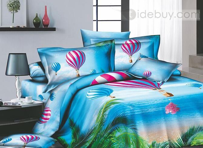 空色の熱帯ビーチ&熱気球プリント4点コットン寝具セット
