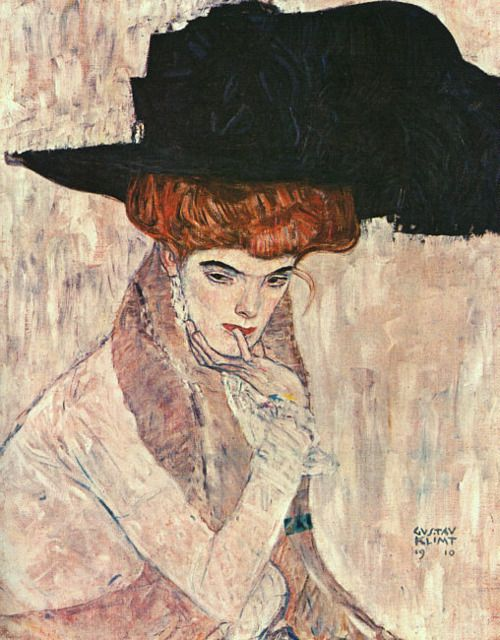 Gustav Klimt, The Black Feather Hat1910, Art Nouveau, Art Inspiration, Gustav Klimt, Feathers Hats, Painting, Black Hats, Black Feathers, Darts Modernas