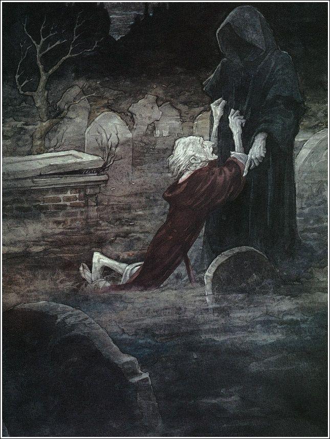 Scrooge incontra lo Spirito del Futuro. Illustrazione di Anton Pieck.
