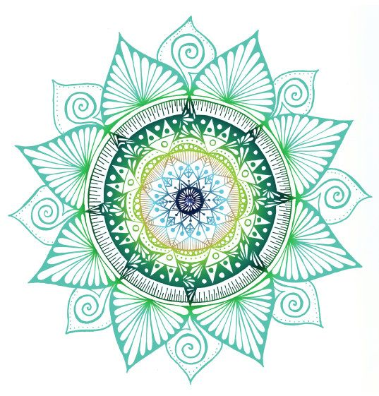 Hand Drawn Mandala Print Bright Green Mandala by WestridgeART