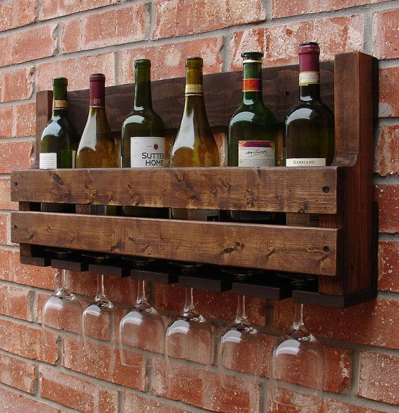 Simply Rustic 8 Bottle Wall Mount Wine Rack with 6 Glass Slot Holder