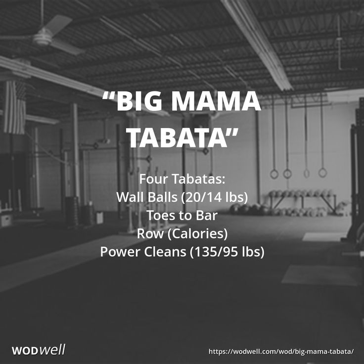 Four Tabatas in 16 minutes: Wall Balls (20/14 lbs); Toes to Bar; Row (Calories); Power Cleans (135/95 lbs)