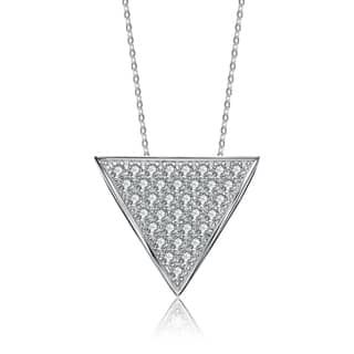 Collette Z Sterling Silver Cubic Zirconia Reverse Triangle Necklace