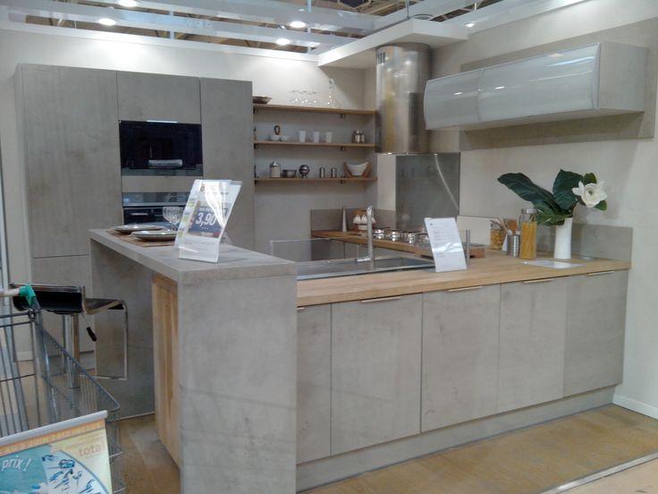 Coup de coeur sur cette cuisine d 39 exposition leroy merlin aspect b ton - Tarif cuisine leroy merlin ...