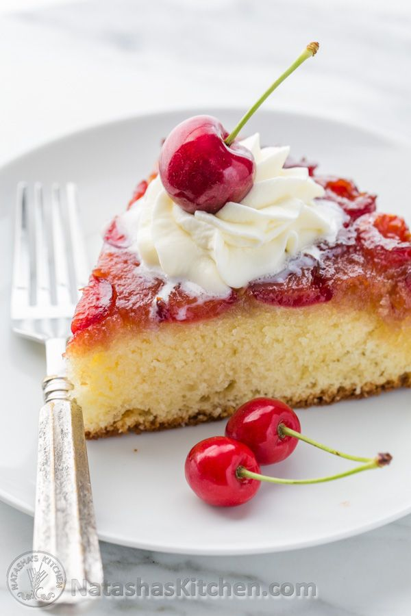This upside-down cherry cake is super soft. The cherries get caramelized by the brown sugar as they bake - delicious! You can use almost any fruit.