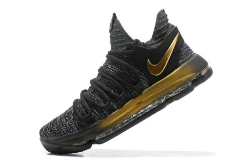 online store e9ab7 ad1c7 2018 Genuine KD 10 Nike Zoom EP Oreo Gold 897816 001 Kevin Durant Mens  Basketball Shoes