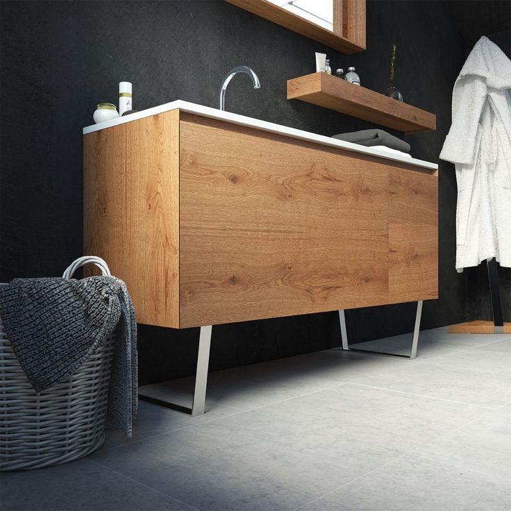 Mod. Alaska Gran mueble compacto de 2 cajones con inglete oculto fabricado en roble rustico y elegantes patas de acero.