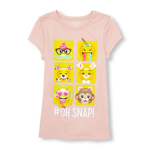 Girls Short Sleeve 'Oh Snap!' Emoji Filter Graphic Tee